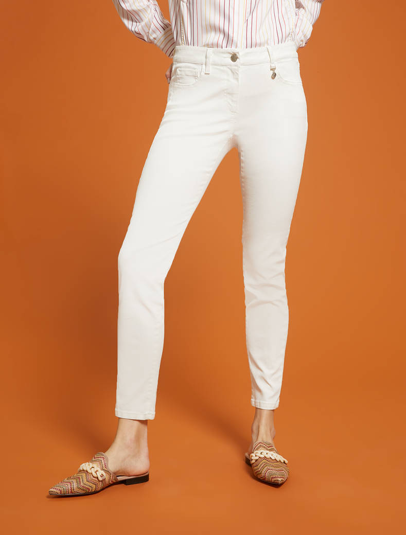 Skinny pants in cotton satin - ivory - pennyblack