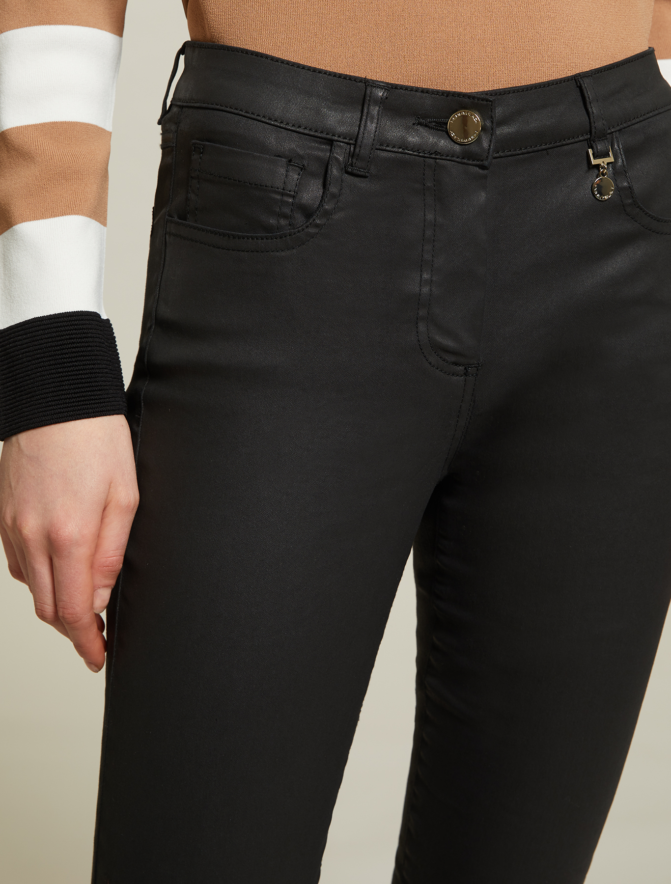 Skinny pants in cotton satin - black - pennyblack