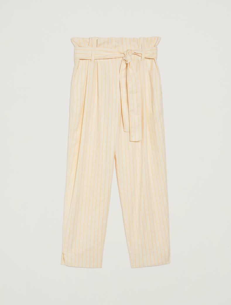 Pinstriped linen-cotton trousers - sunshine yellow pattern - pennyblack