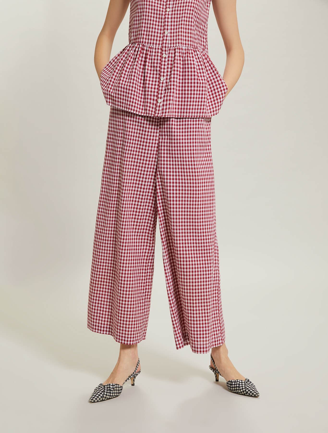 Gingham check trousers - fuchsia pattern - pennyblack
