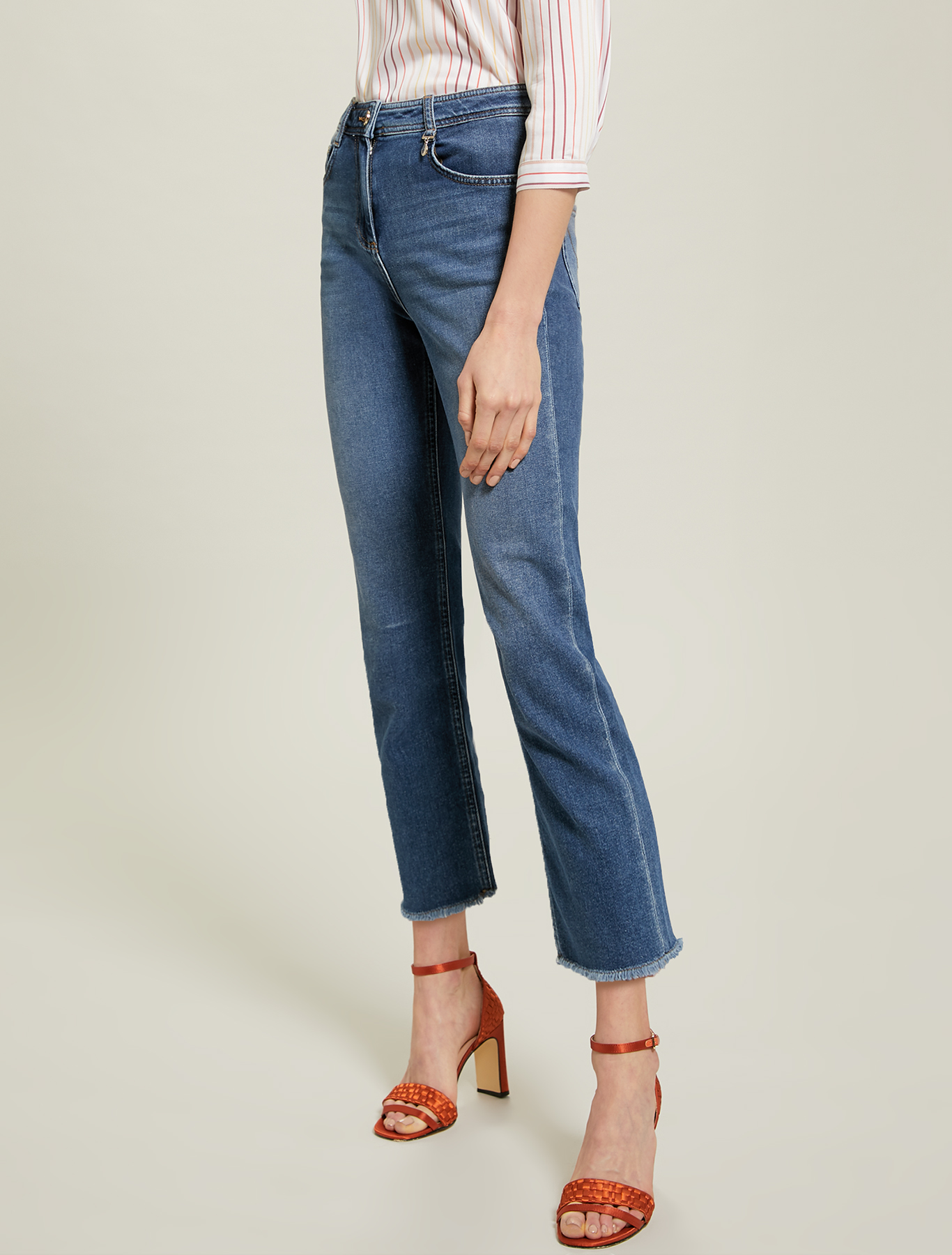 Jeans with fringed hem - midnight blue - pennyblack