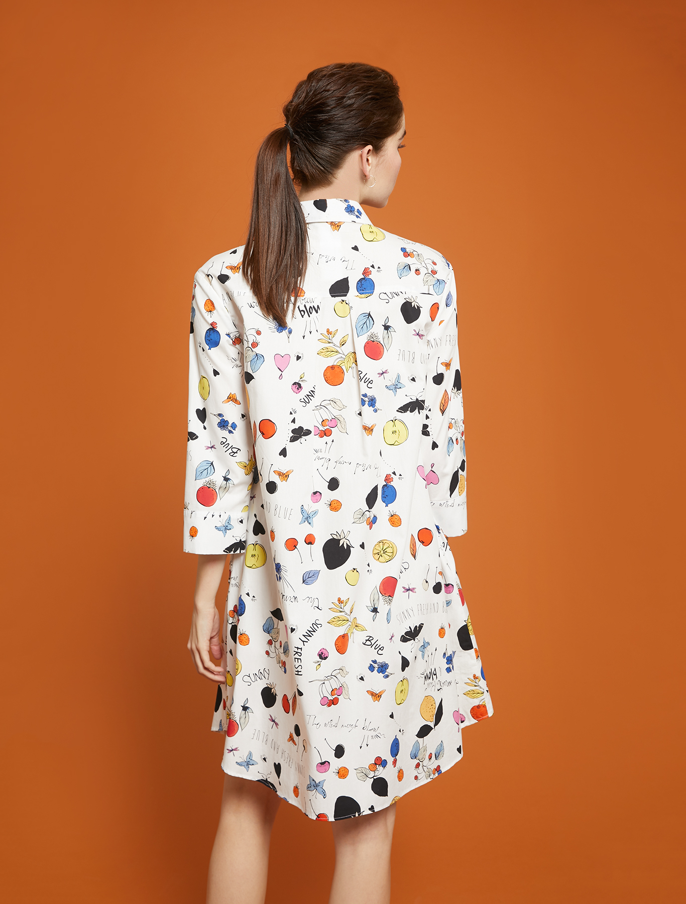 Printed poplin shirt dress - white pattern - pennyblack