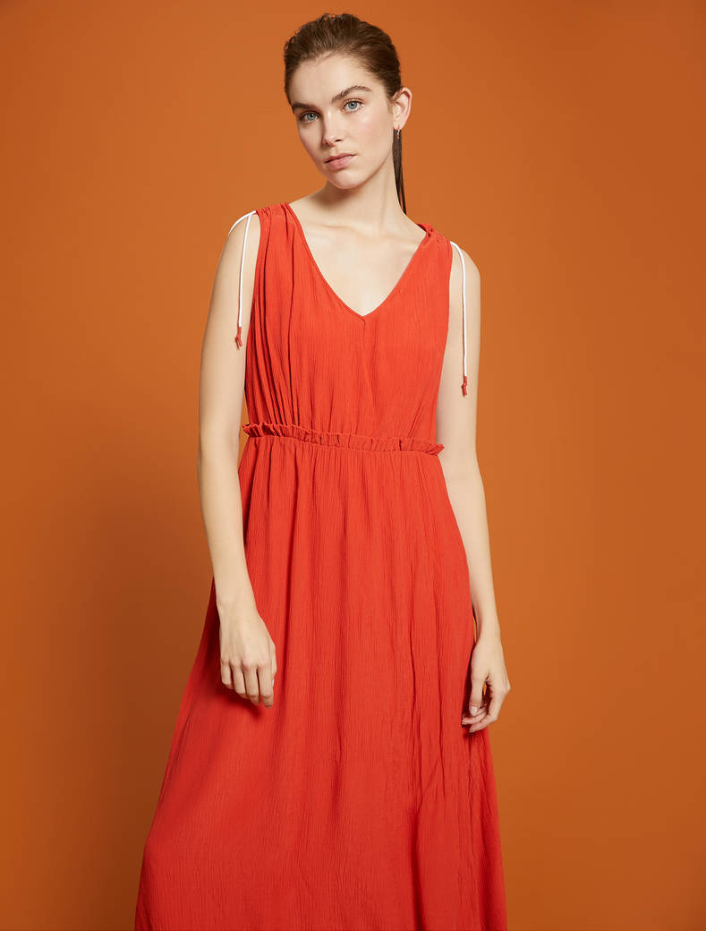 Long dress in crepon - red - pennyblack