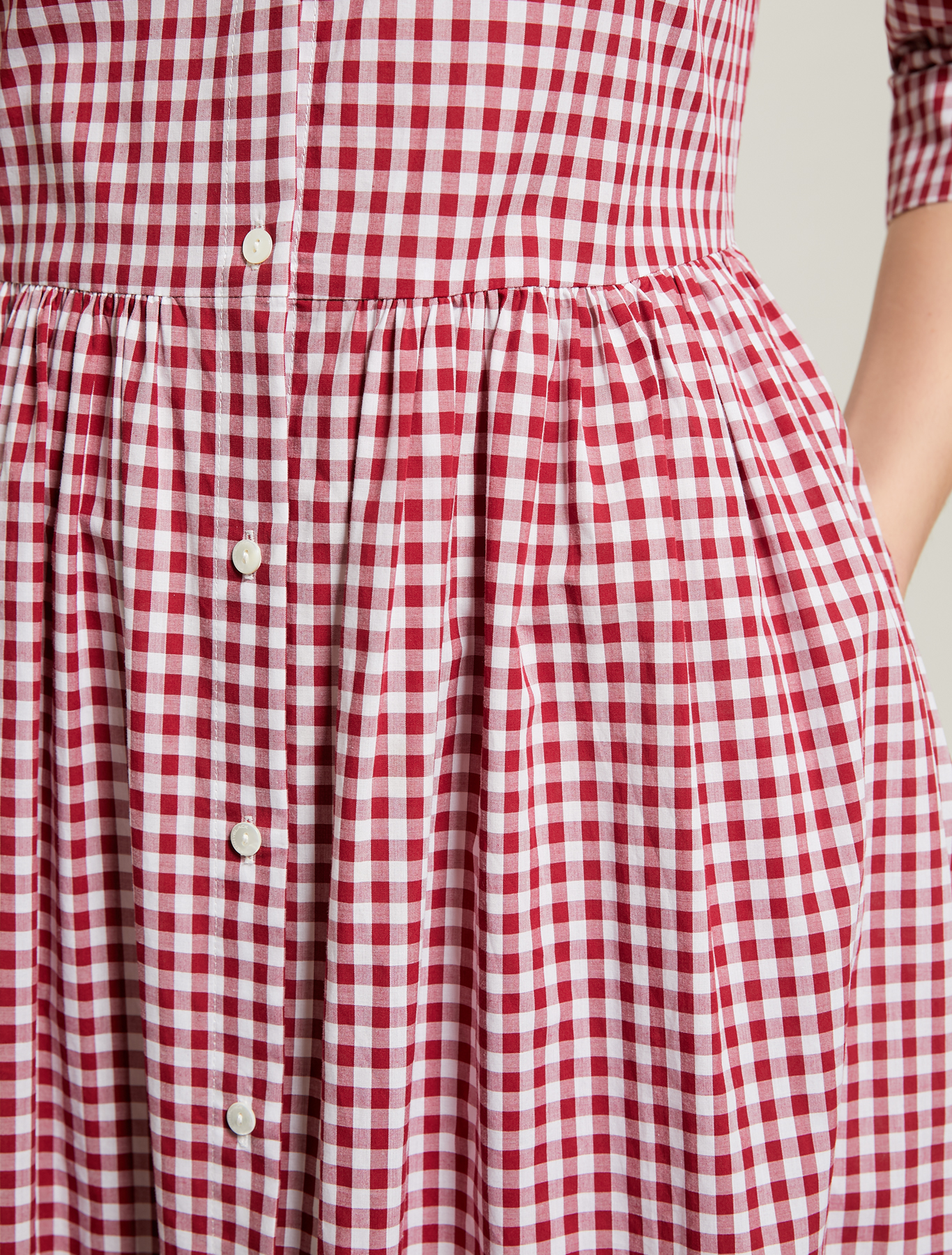 Gingham check shirt dress - fuchsia pattern - pennyblack