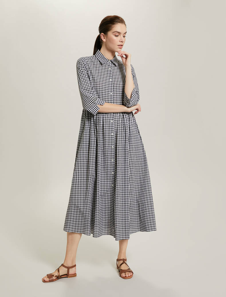 Gingham check shirt dress - white pattern - pennyblack
