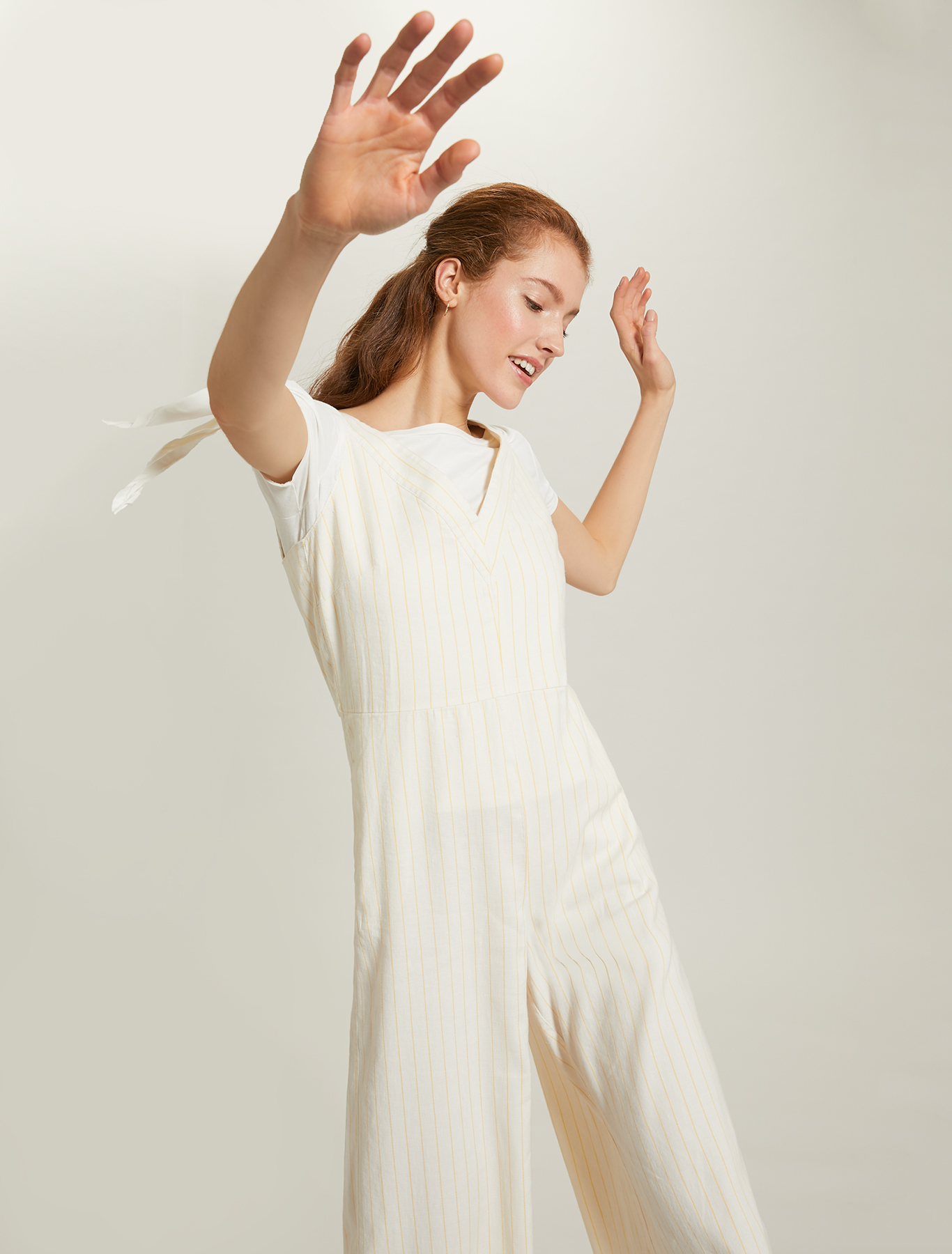Pinstriped linen-cotton jumpsuit - sunshine yellow pattern - pennyblack