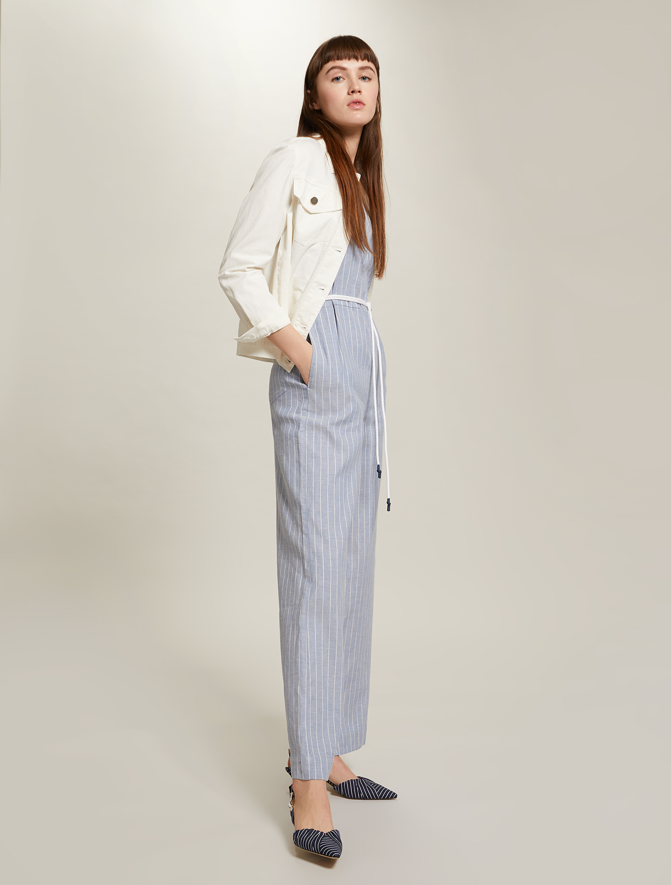 Pinstriped linen-cotton jumpsuit - navy blue pattern - pennyblack