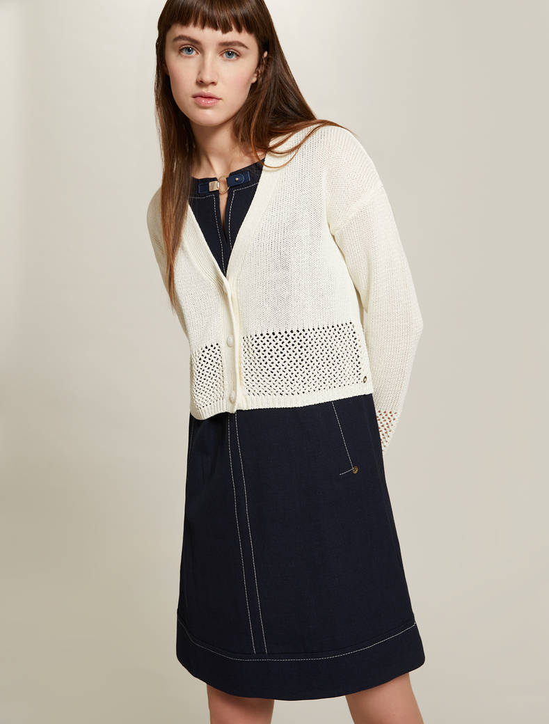 Cardigan with openwork inserts - ivory - pennyblack