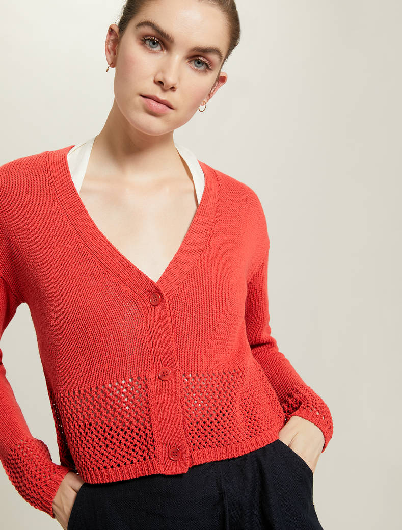 Cardigan with openwork inserts - red - pennyblack