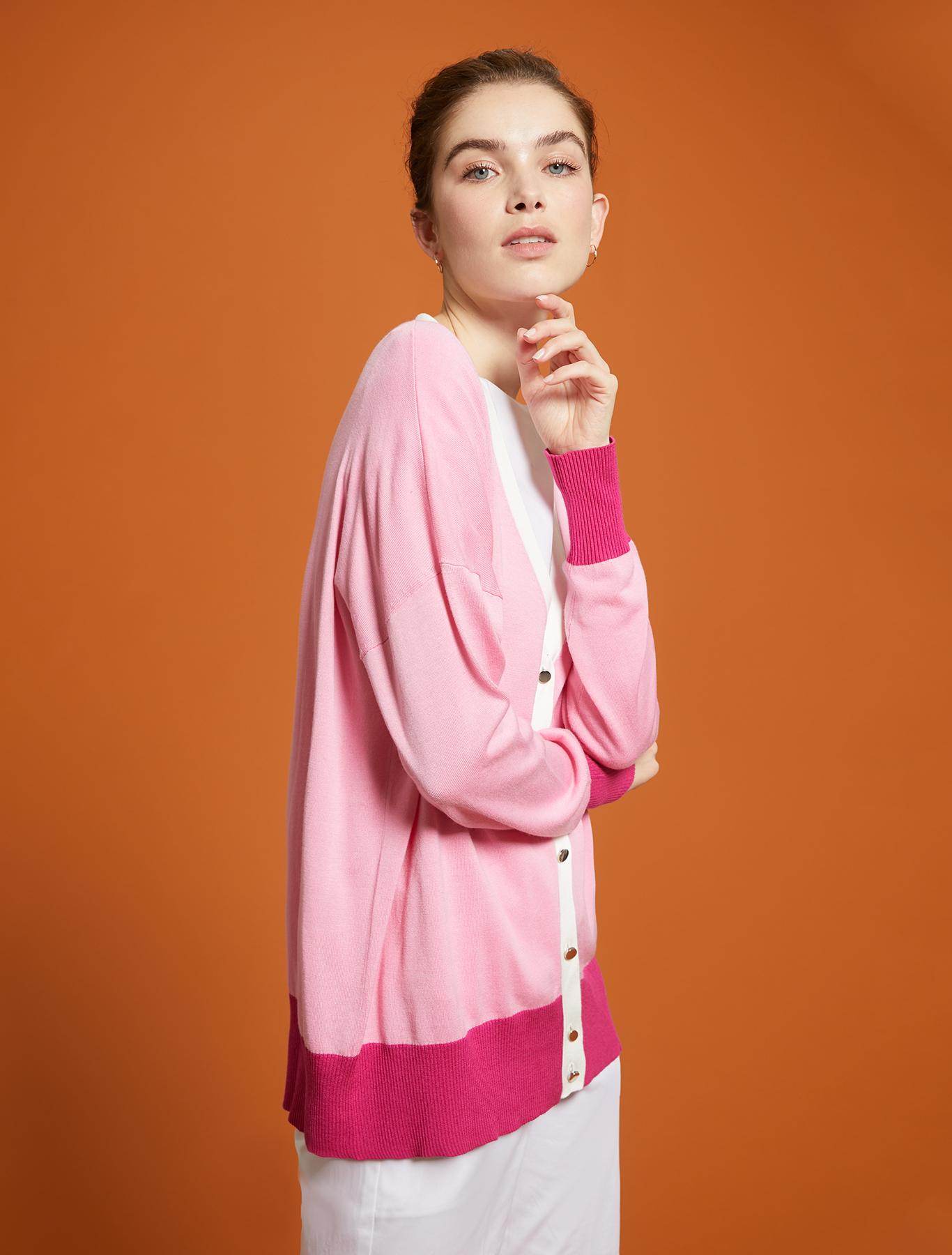 Comfort cotton cardigan - rose pink pattern - pennyblack