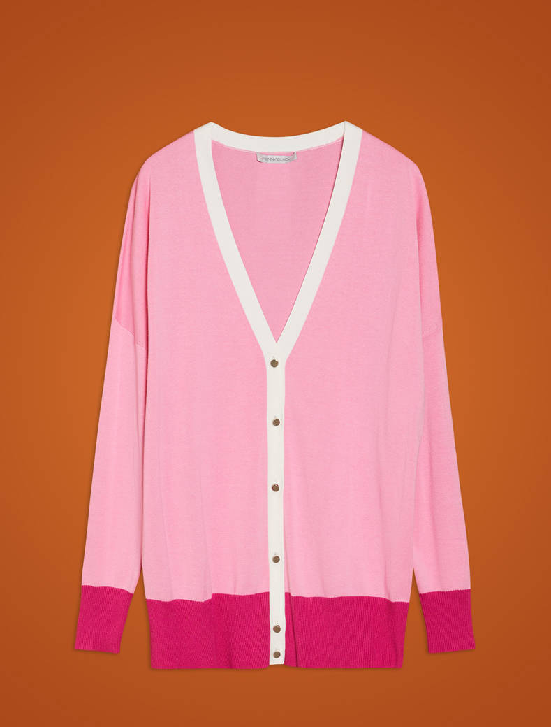 Comfort cotton cardigan - rose pink pattern - pennyblack