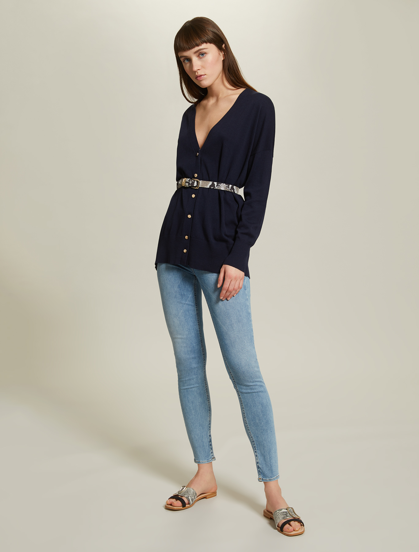 Comfort cotton cardigan - navy blue - pennyblack