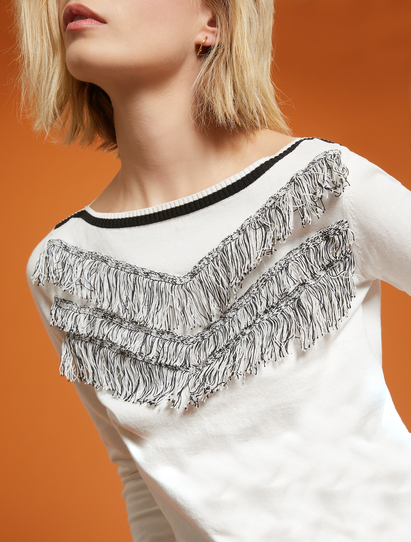 Cotton jumper with fringe - white - pennyblack