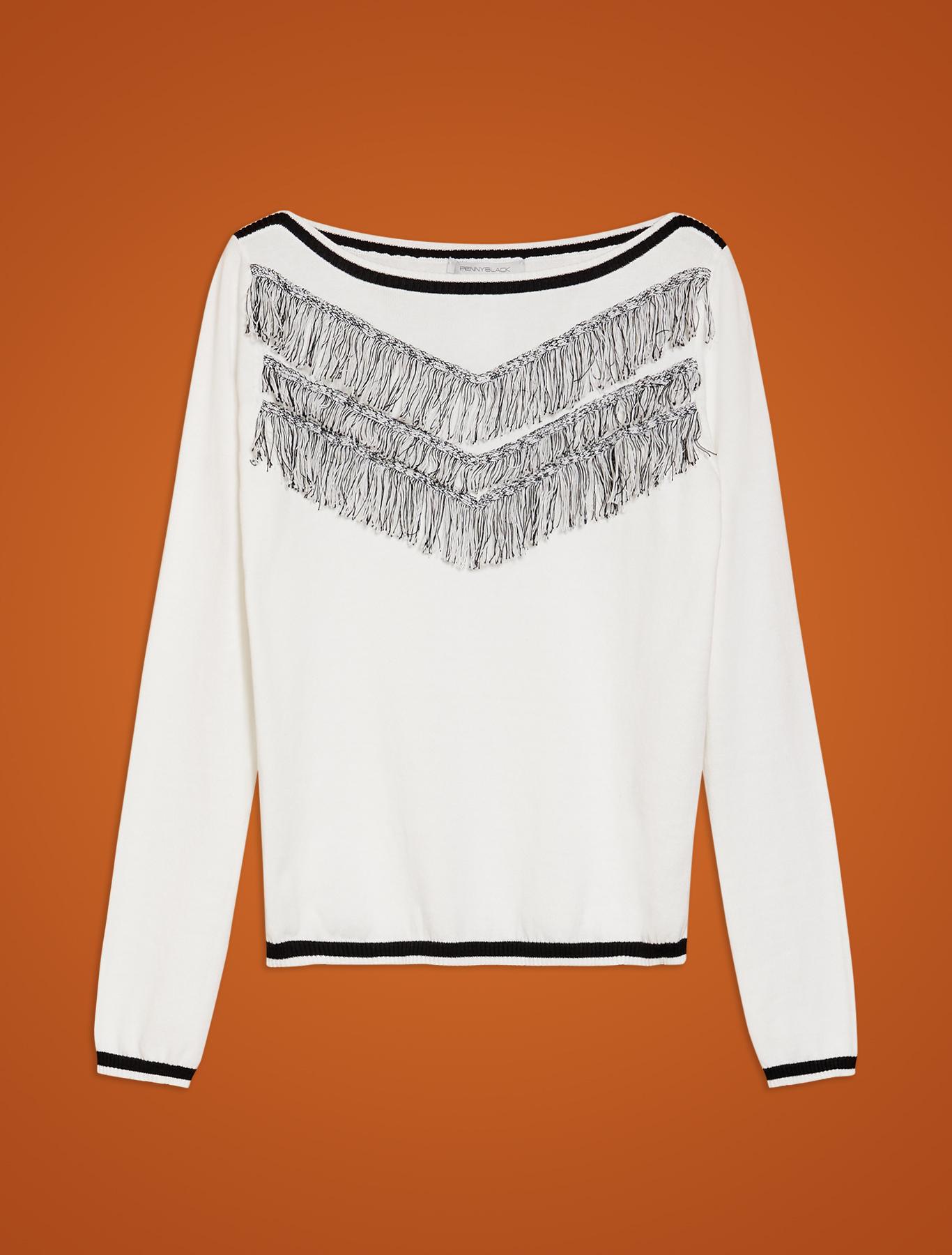 Cotton jumper with fringe - white - pennyblack