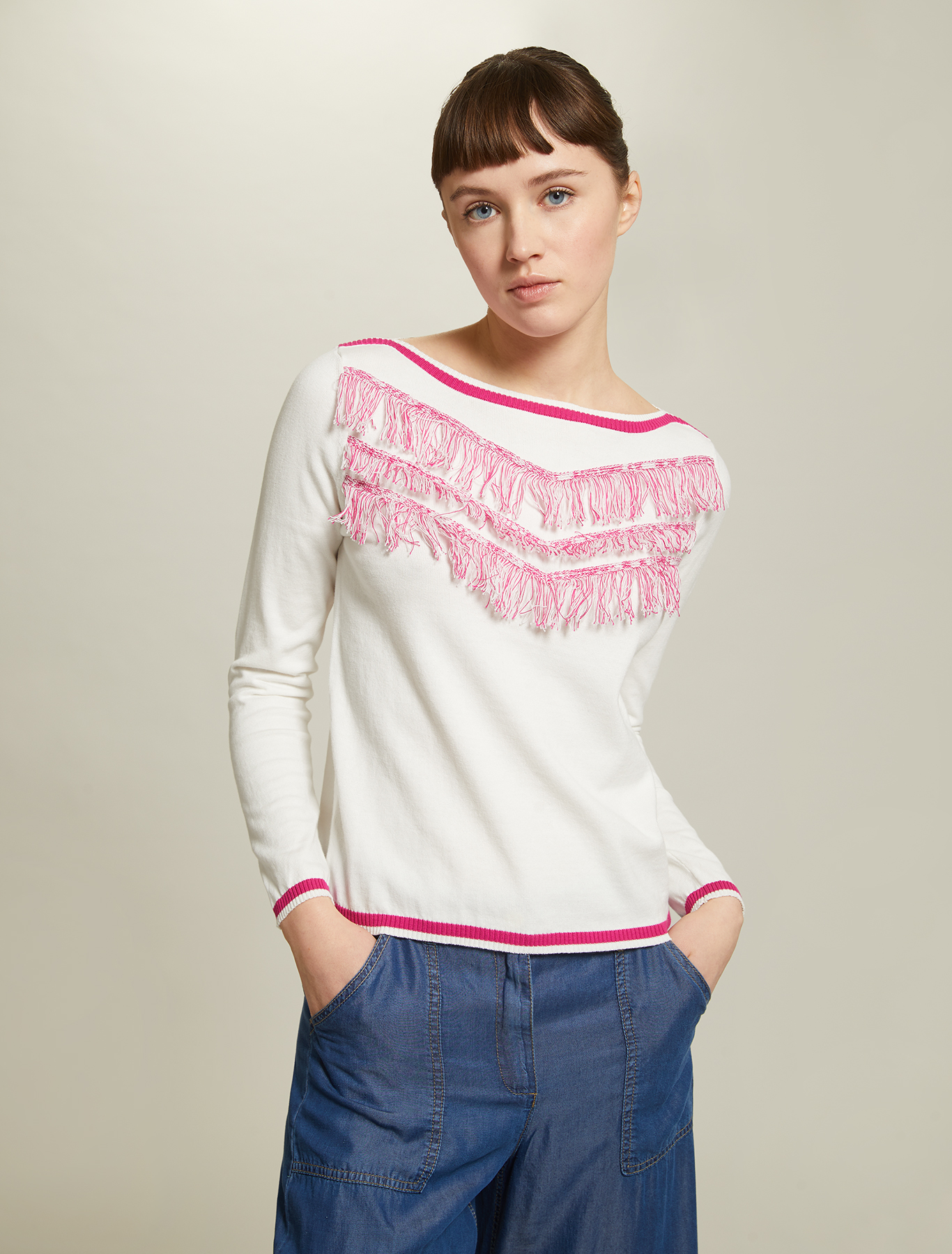 Cotton jumper with fringe - ivory - pennyblack