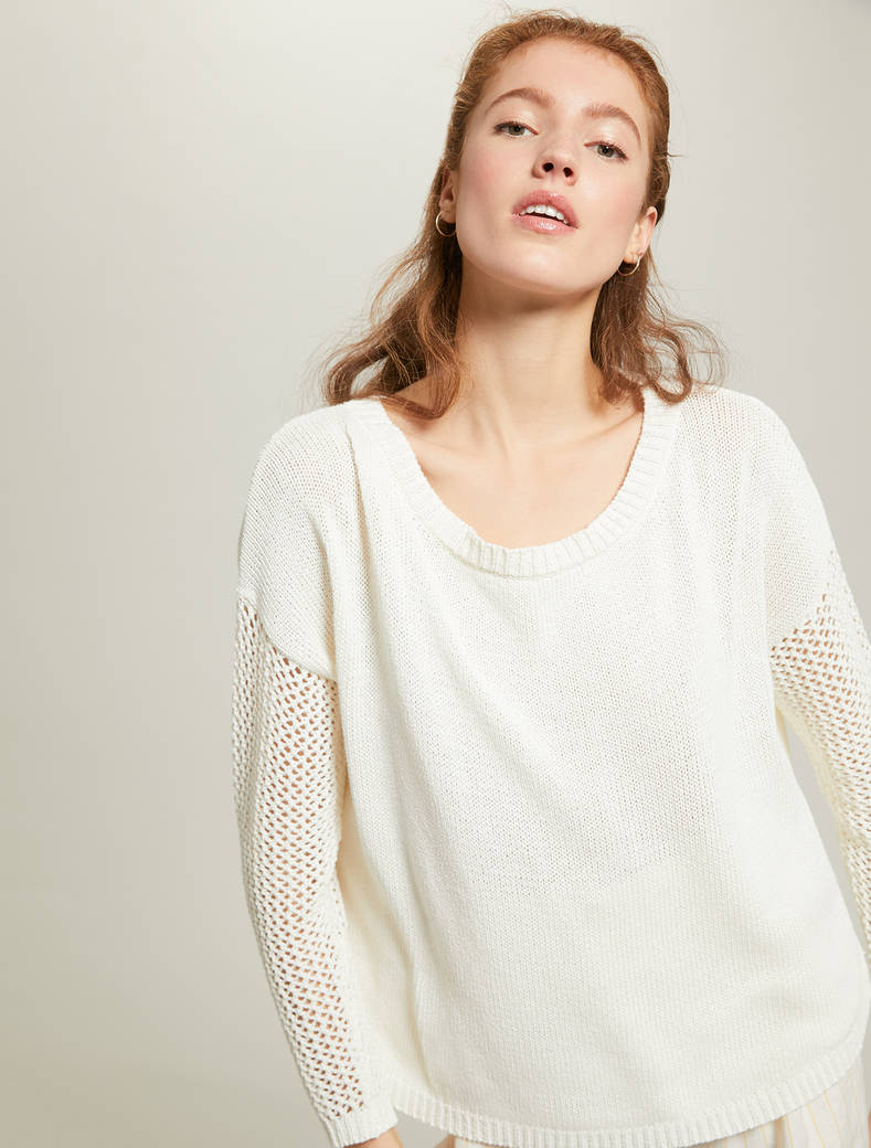 Jumper with mesh inserts - ivory - pennyblack