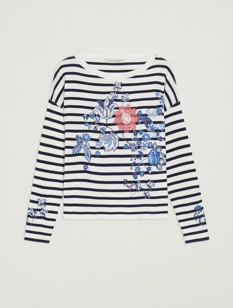 Embroidered cotton jumper - navy blue pattern - pennyblack