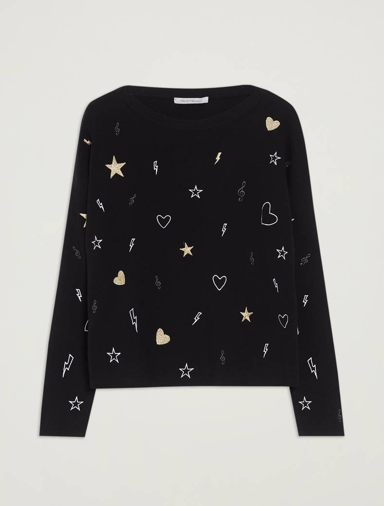 Embroidered cotton jumper - black - pennyblack