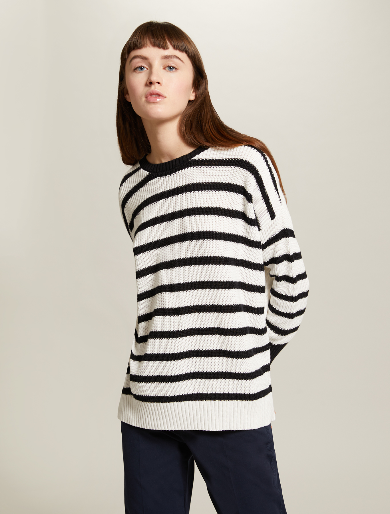 Striped cotton jumper - black pattern - pennyblack