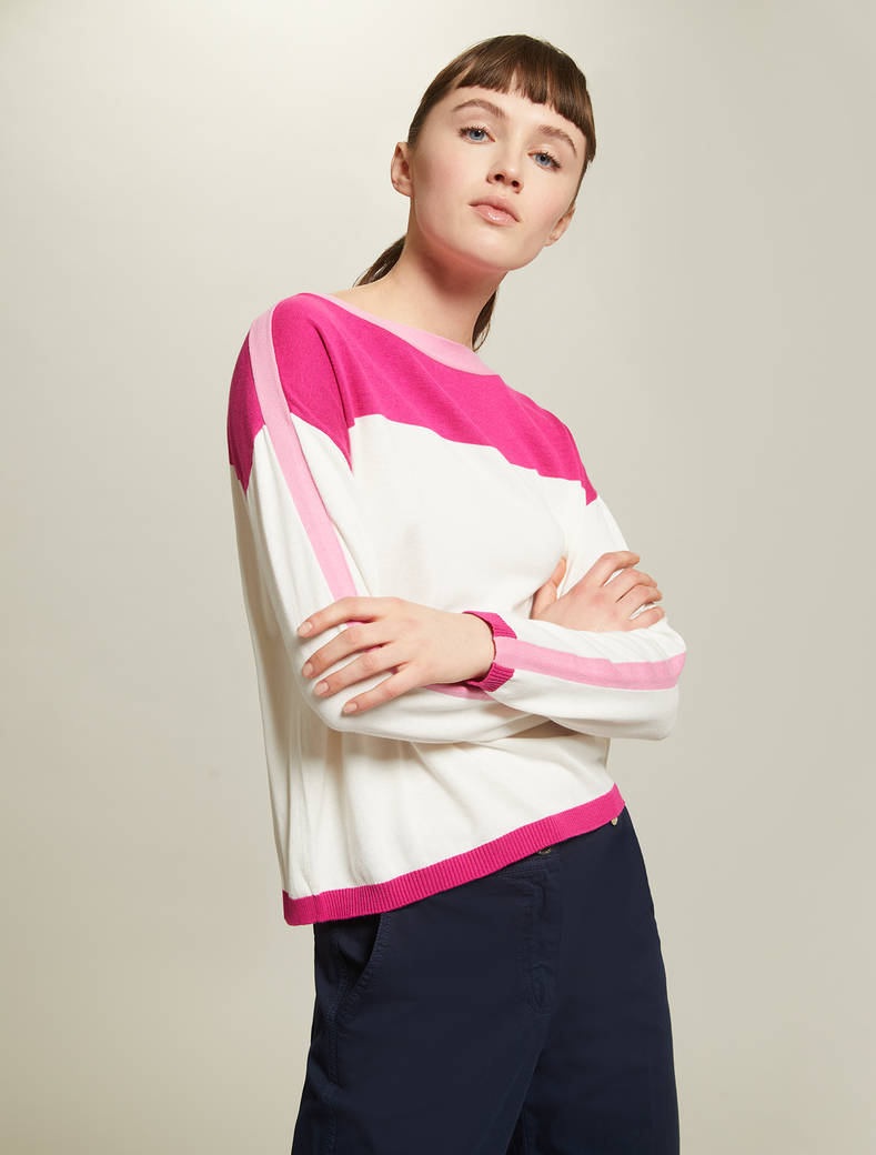 Colour-block jumper - rose pink pattern - pennyblack