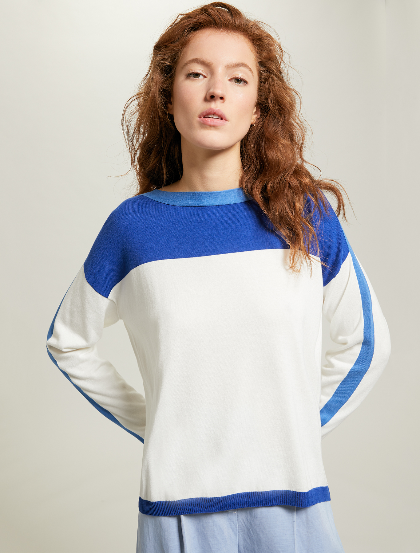 Colour-block jumper - cornflower blue pattern - pennyblack