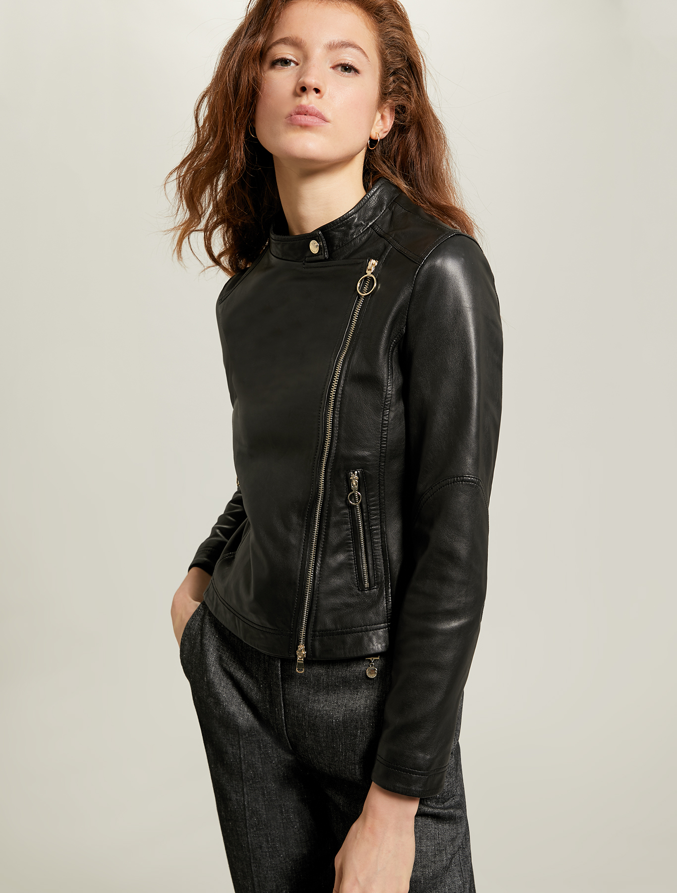 Leather biker jacket - black - pennyblack