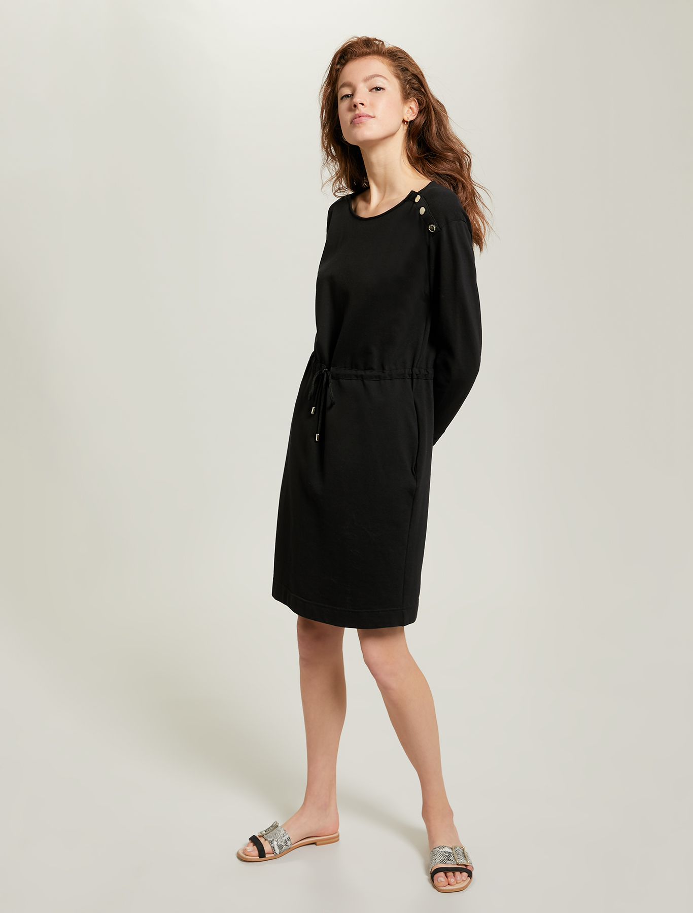 Piqué jersey dress - black - pennyblack