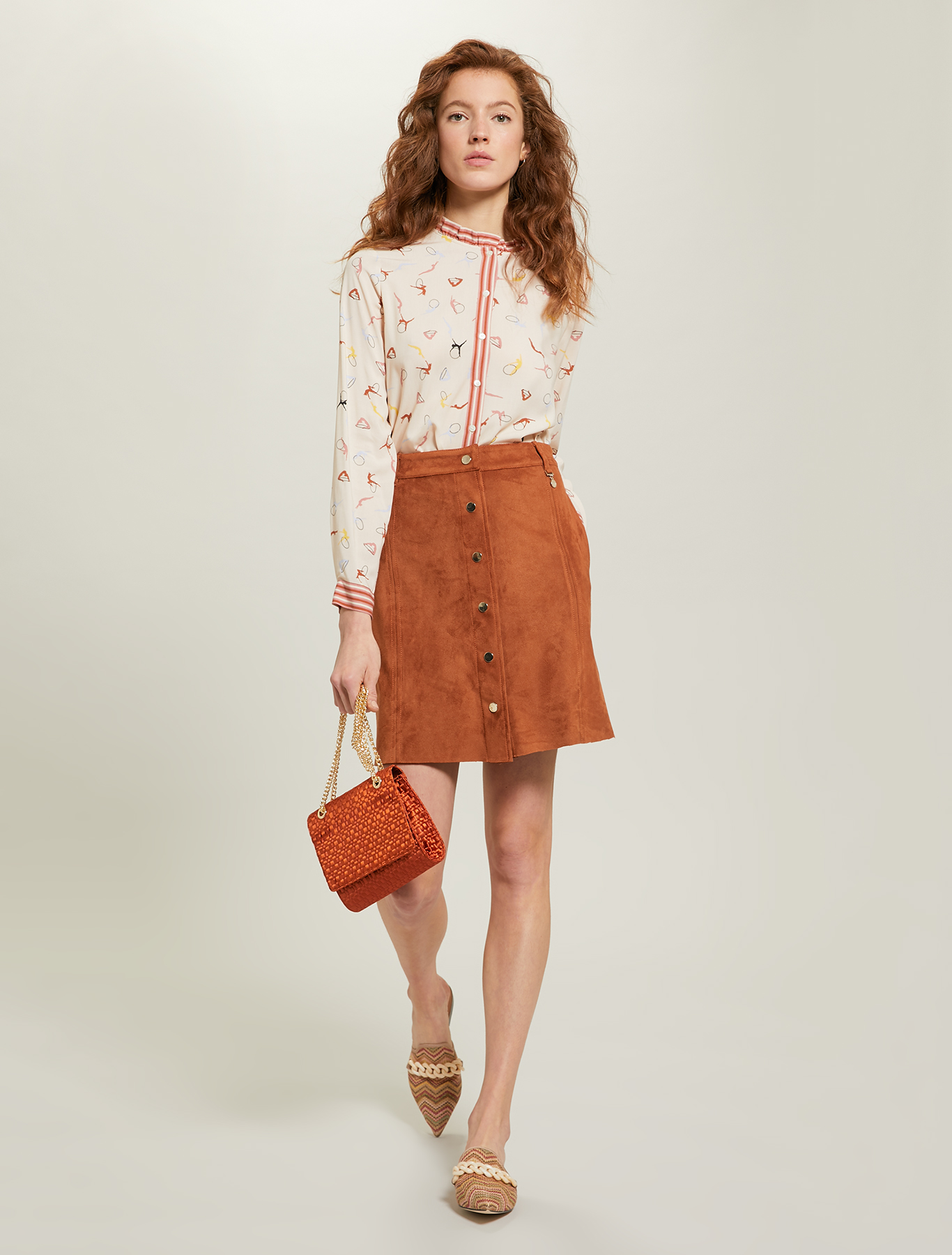 Jersey A-line skirt - brown - pennyblack