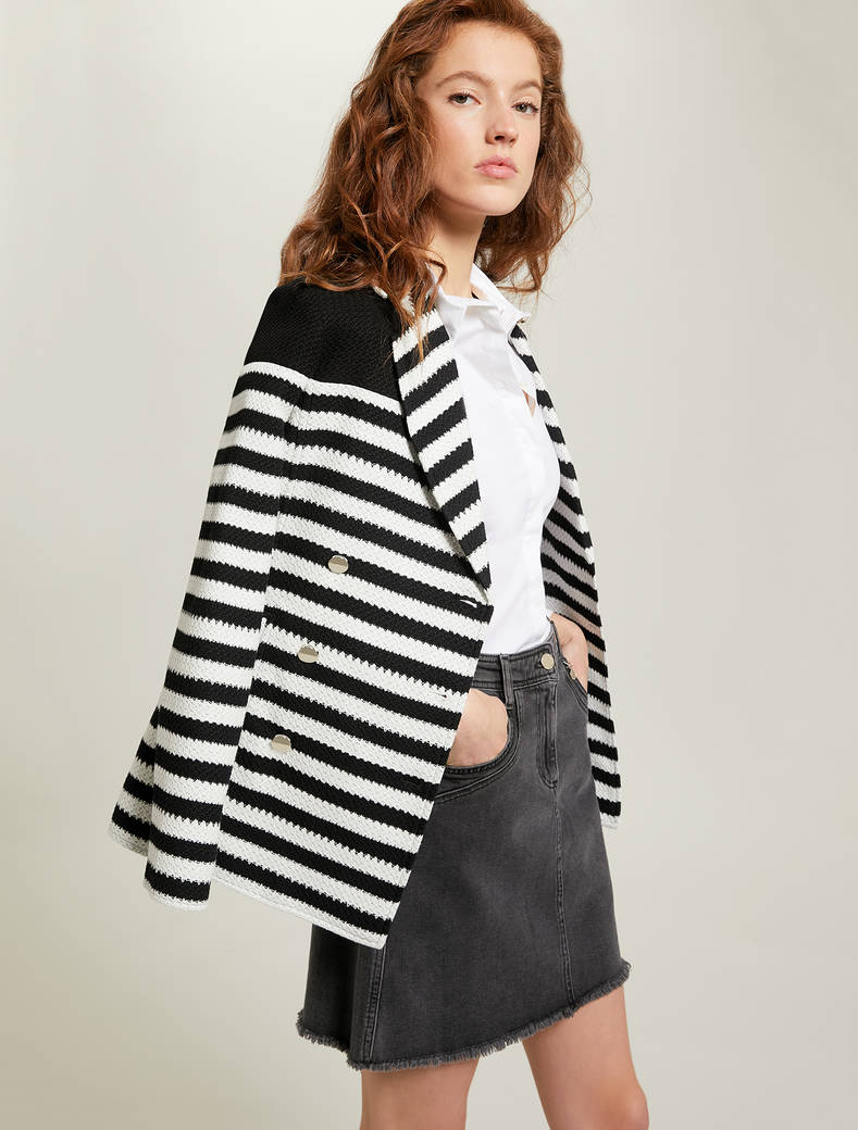 Striped jersey pea coat - white pattern - pennyblack