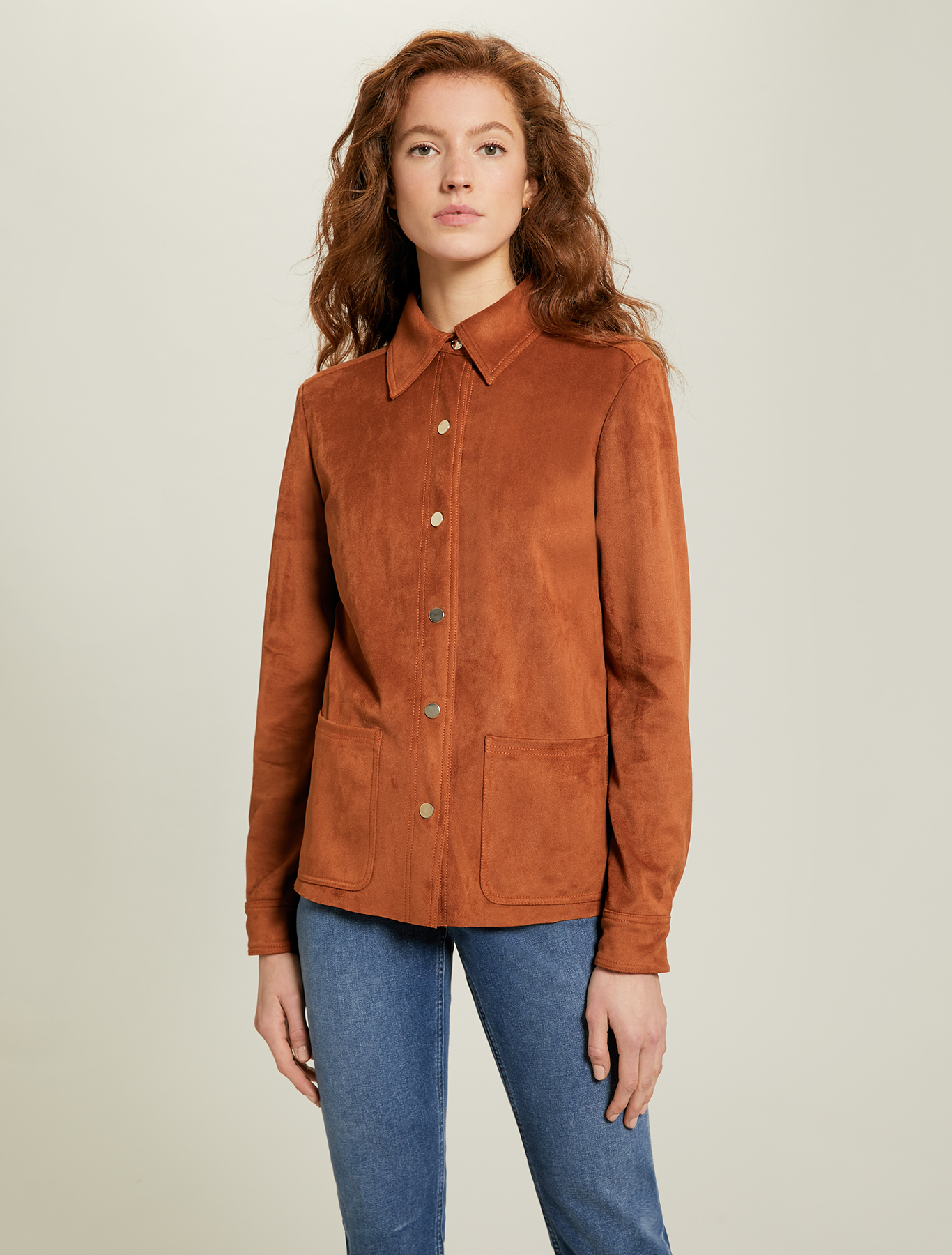Jersey shirt jacket - brown - pennyblack