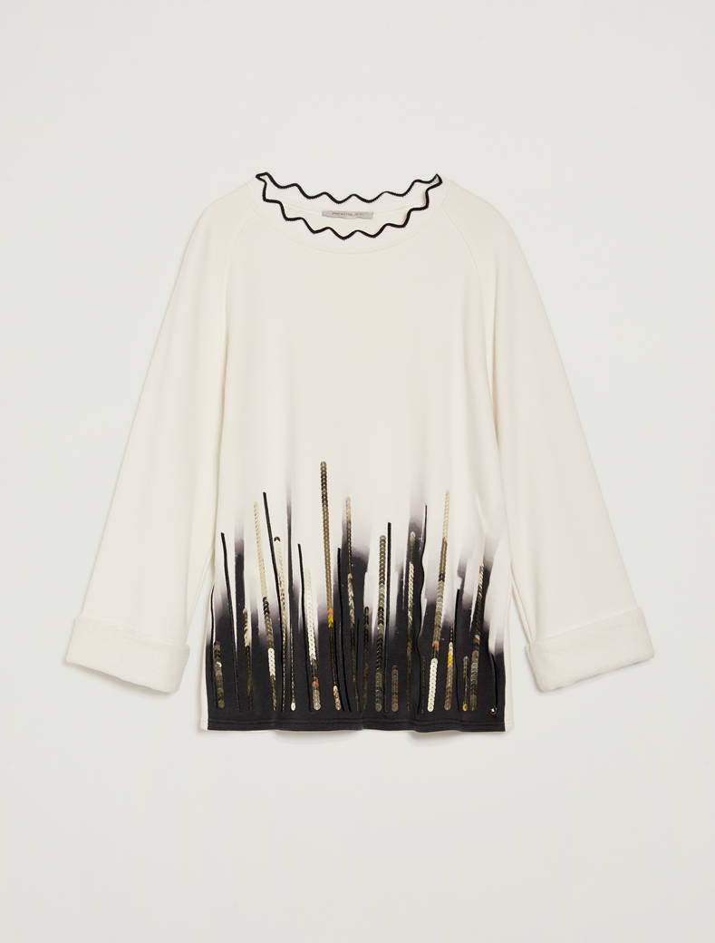 Sweatshirt with print and sequins - white - pennyblack