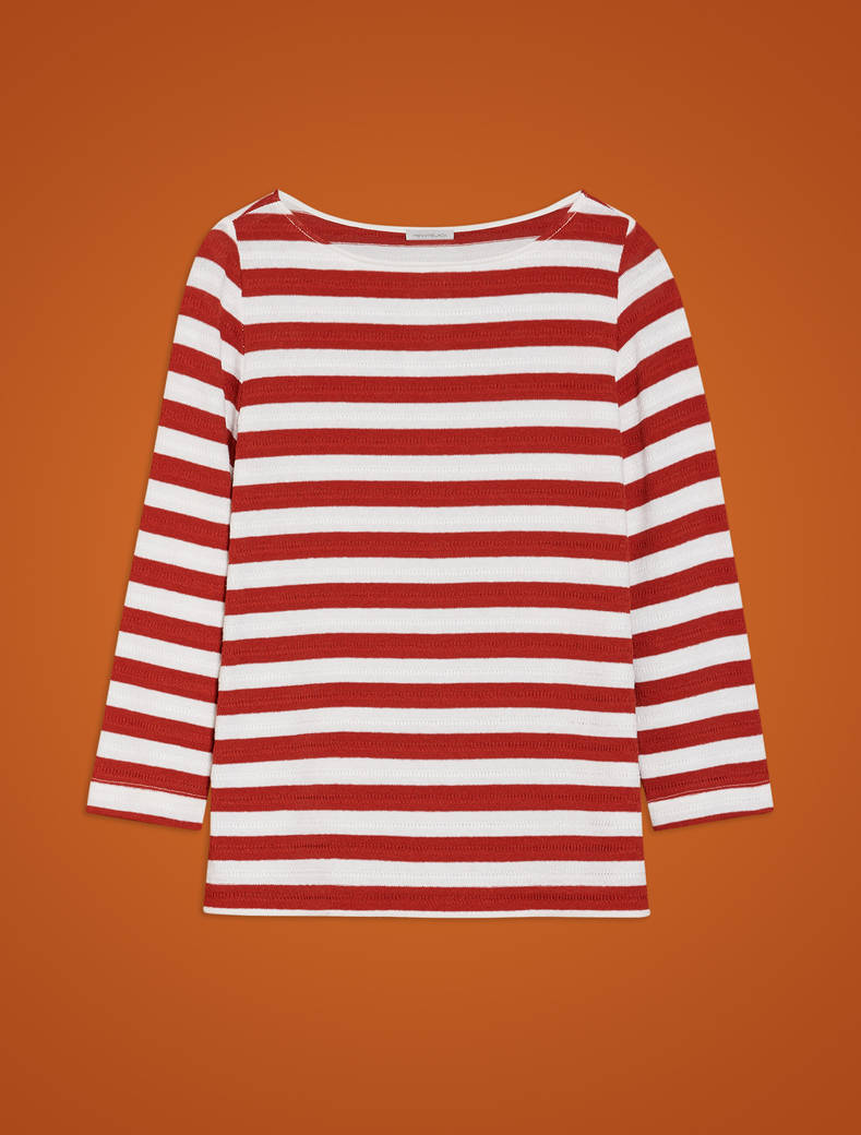 Striped sailor T-shirt - terracotta pattern - pennyblack