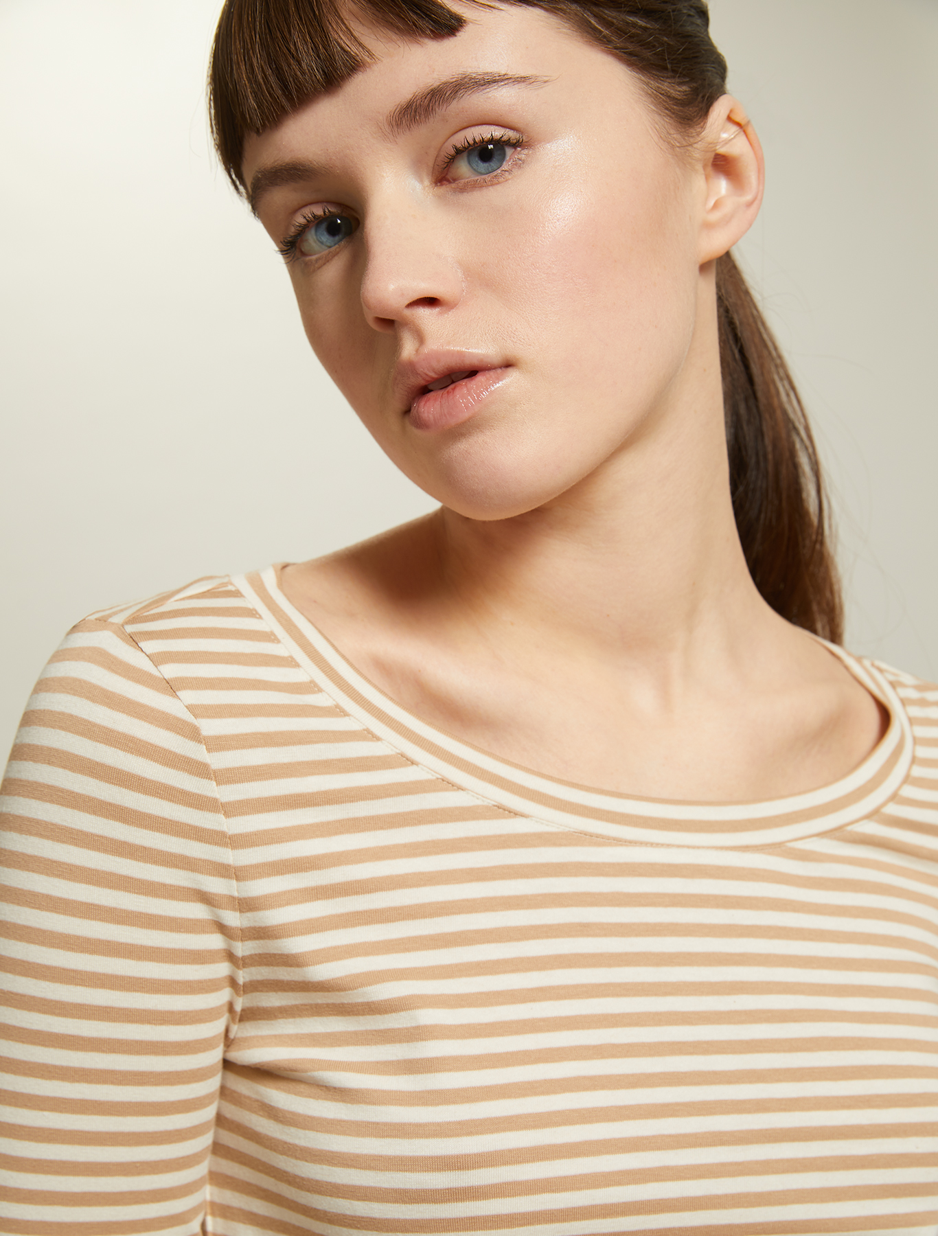 Striped cotton T-shirt - beige pattern - pennyblack