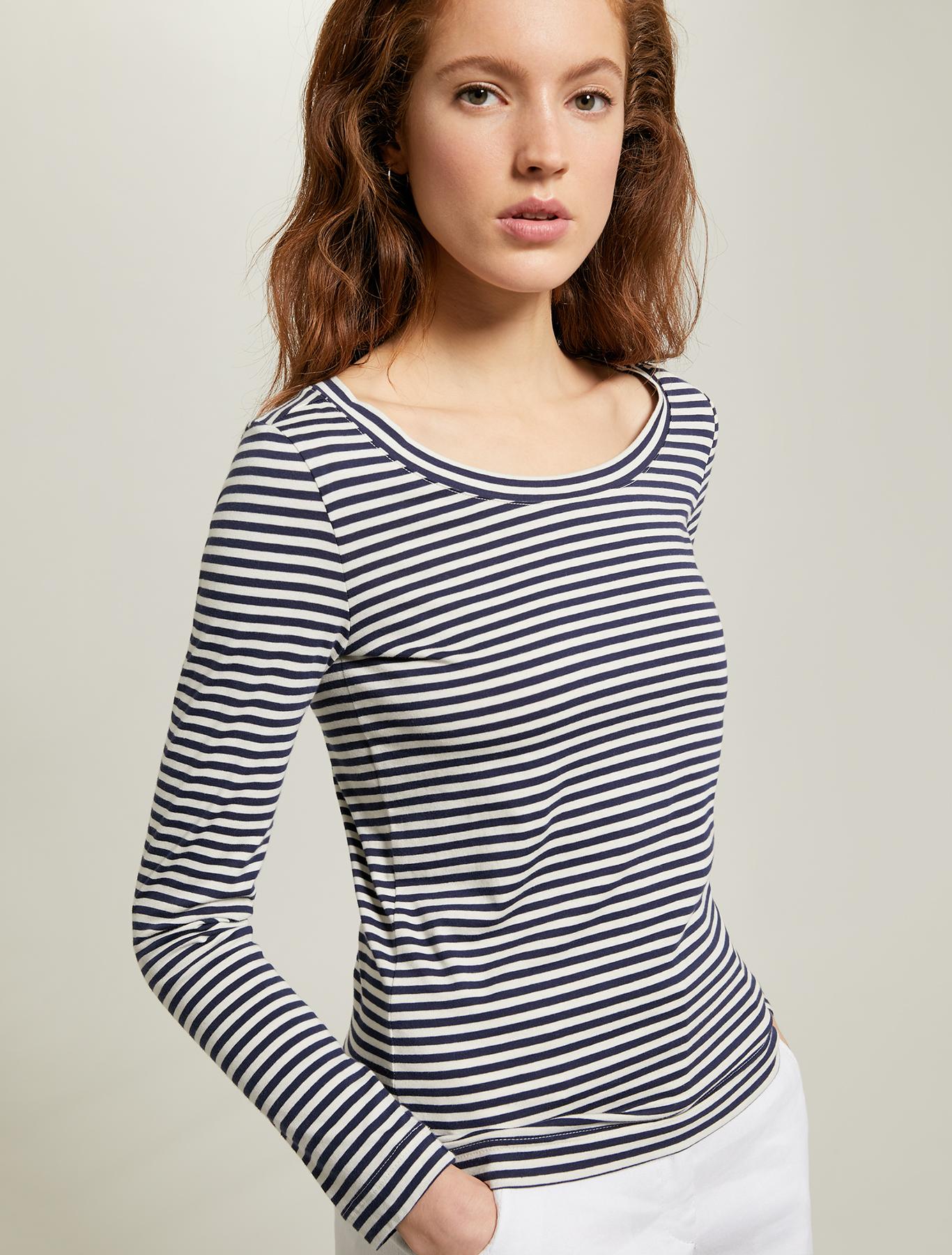 Striped cotton T-shirt - navy blue pattern - pennyblack