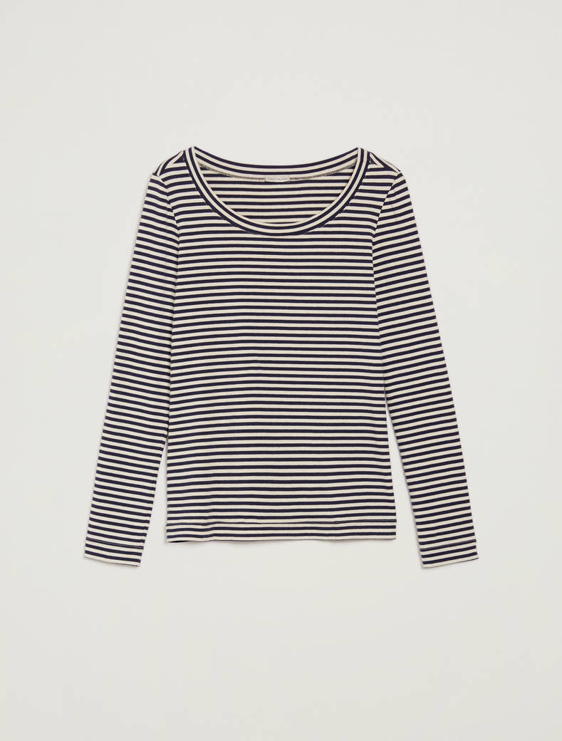 Striped cotton T-shirt - navy blue pattern - pennyblack