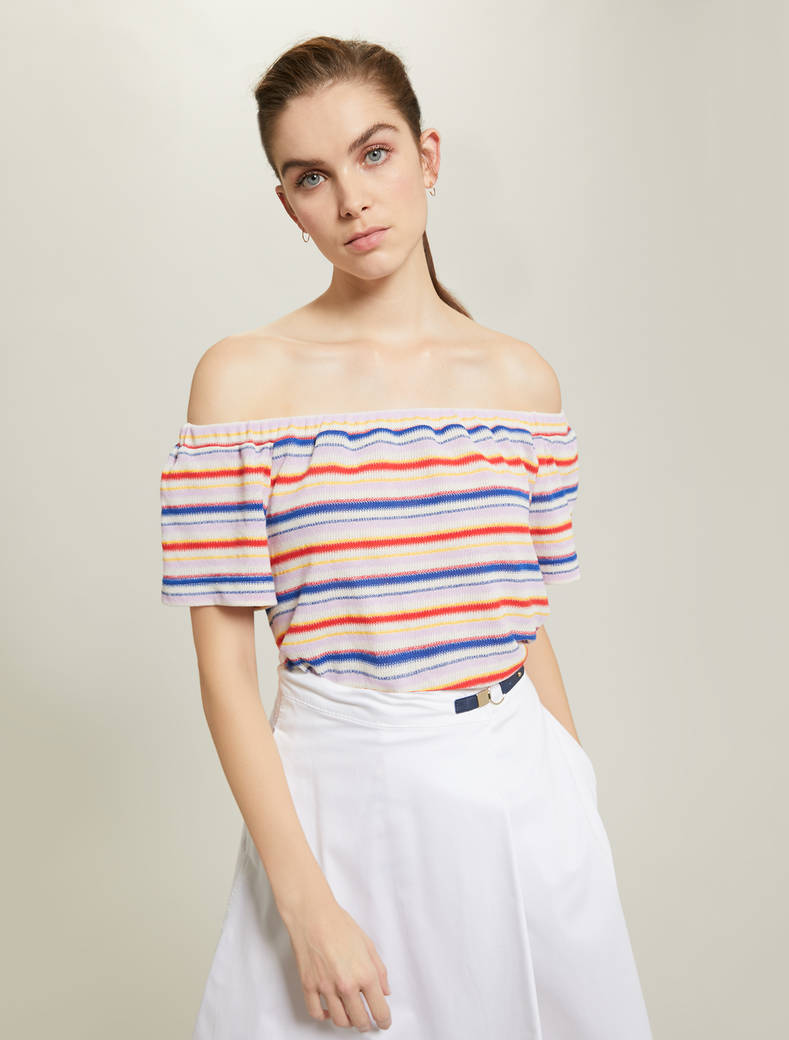 Off-the-shoulder T-shirt - white pattern - pennyblack