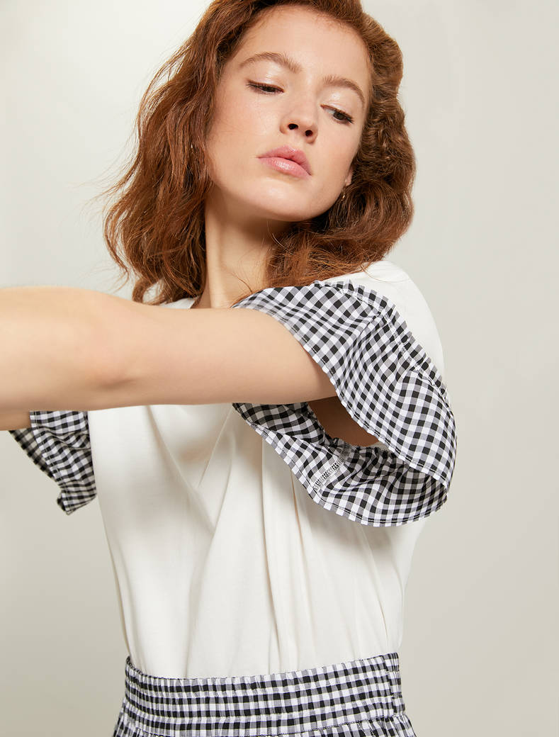 Gingham check T-shirt - ivory - pennyblack