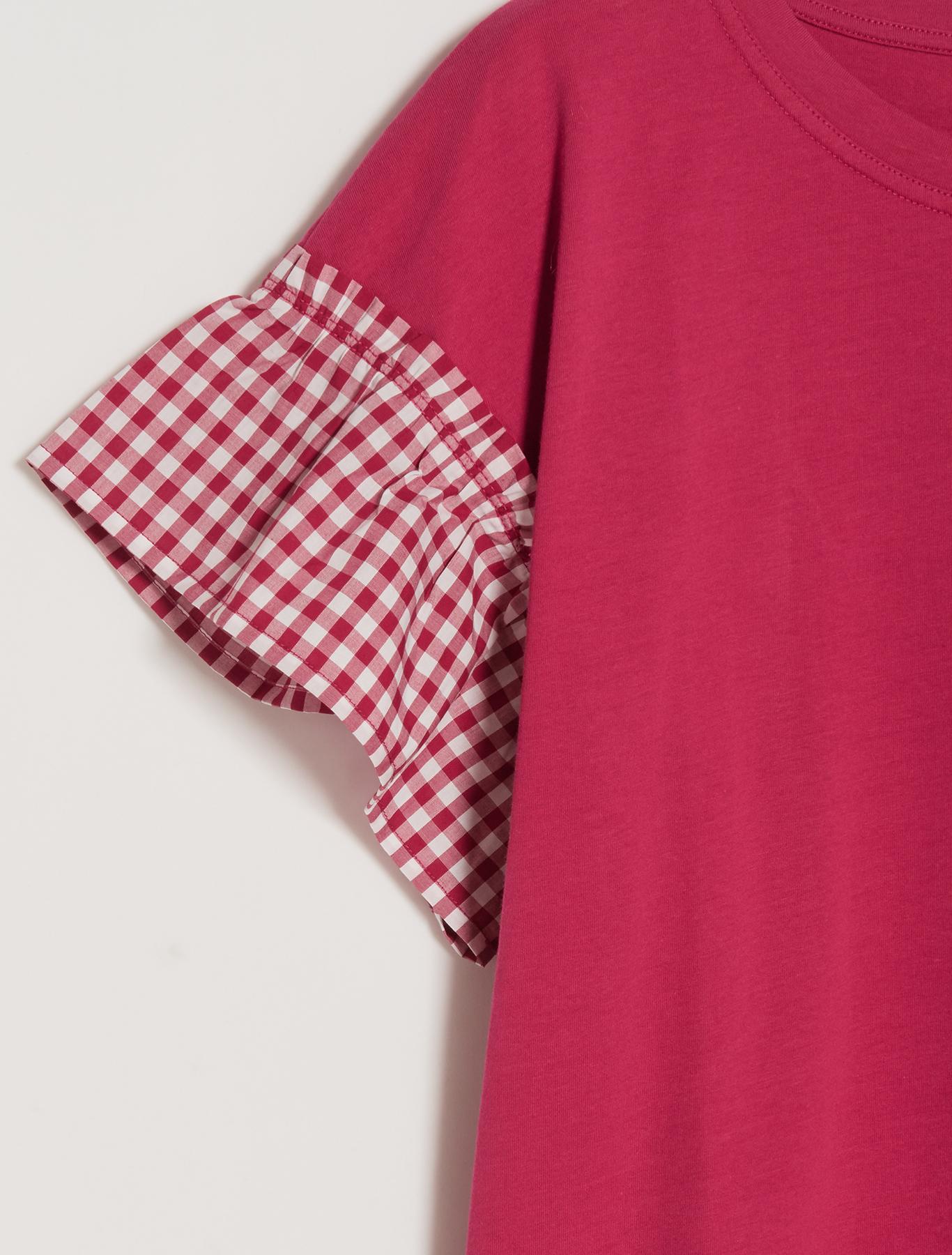 T-shirt con quadretti Vichy - fuxia - pennyblack
