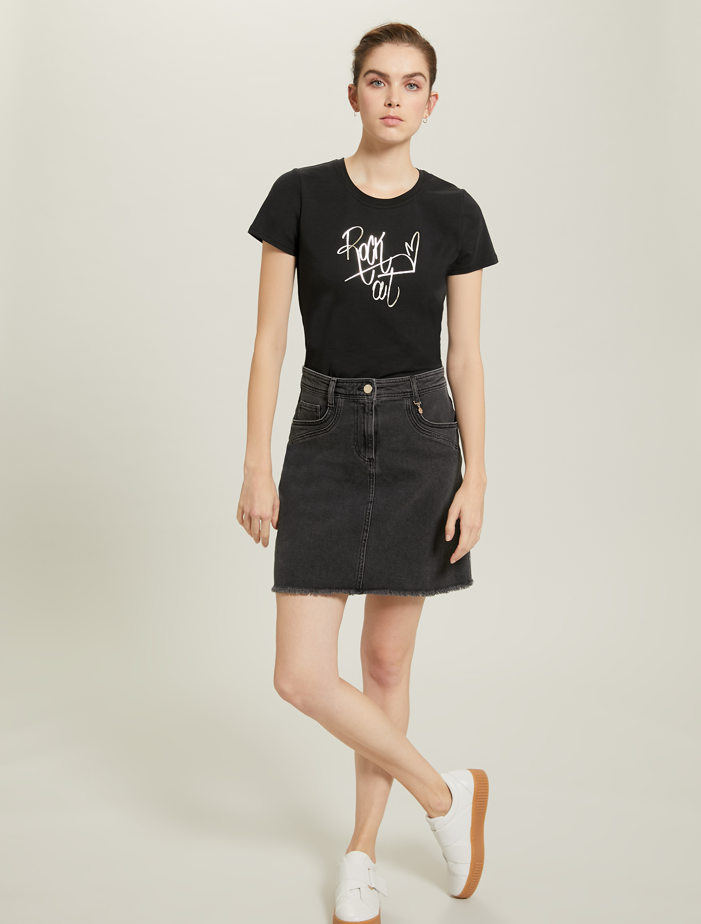 Printed cotton T-shirt - black - pennyblack