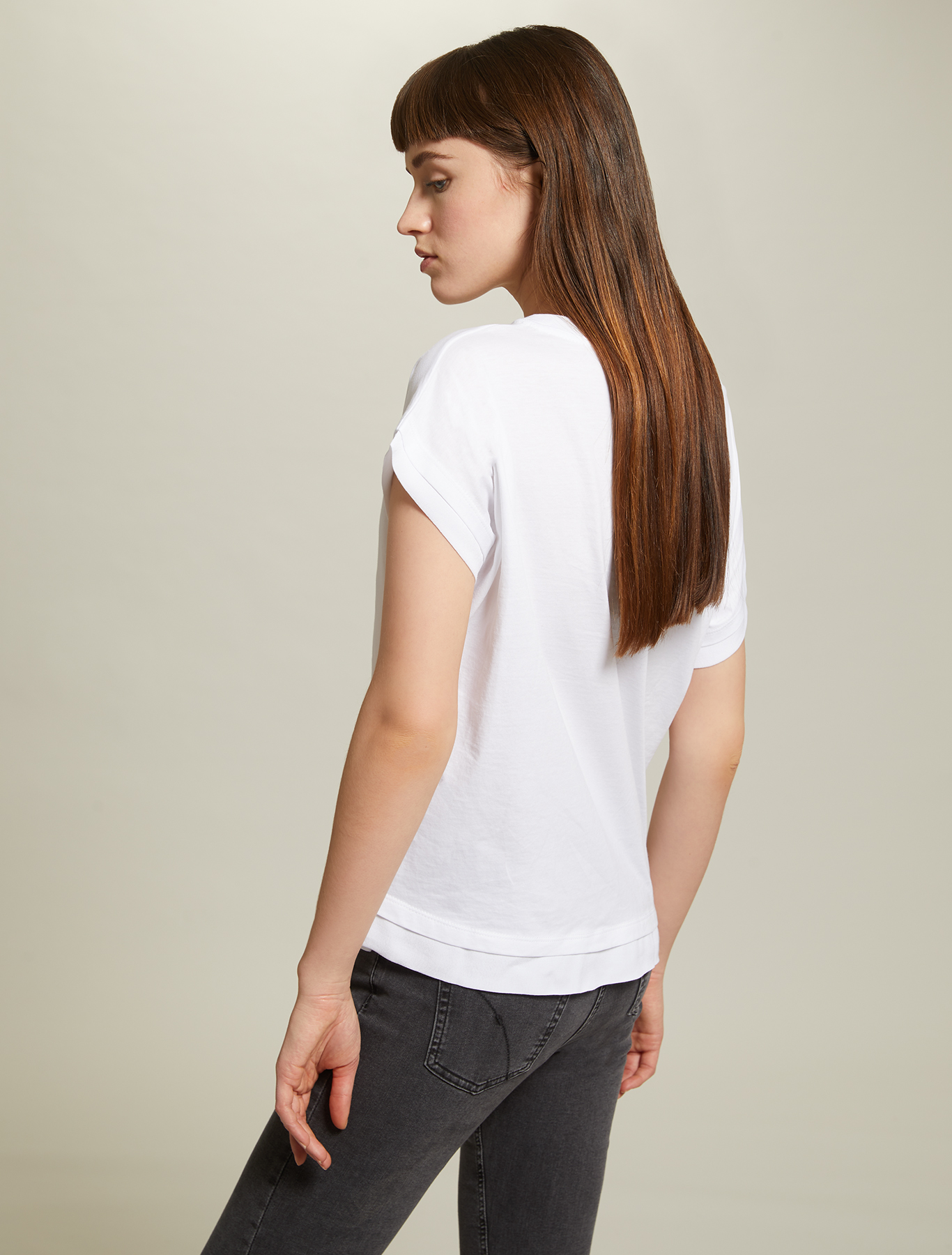 Cotton T-shirt with sequins - ivory - pennyblack