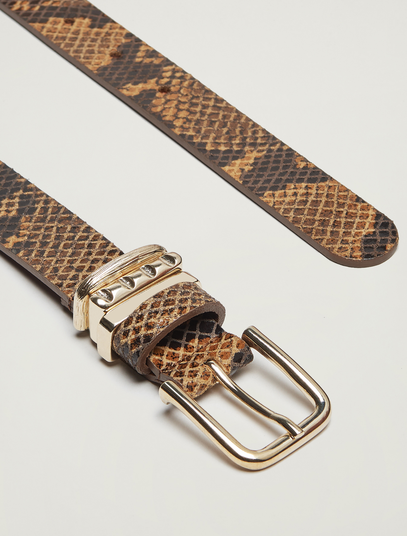 Belt with gold loops - beige - pennyblack