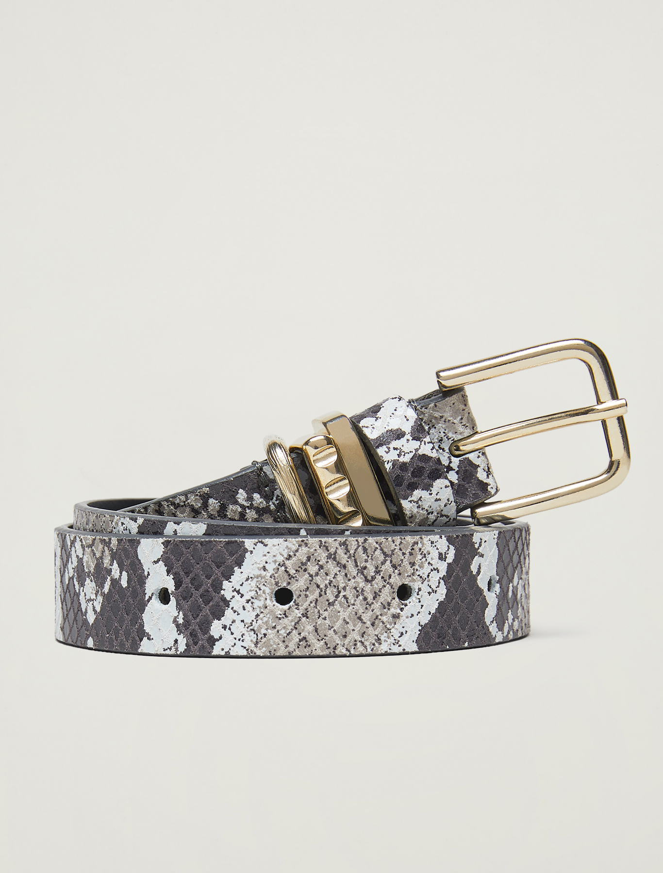 Belt with gold loops - dark grey - pennyblack