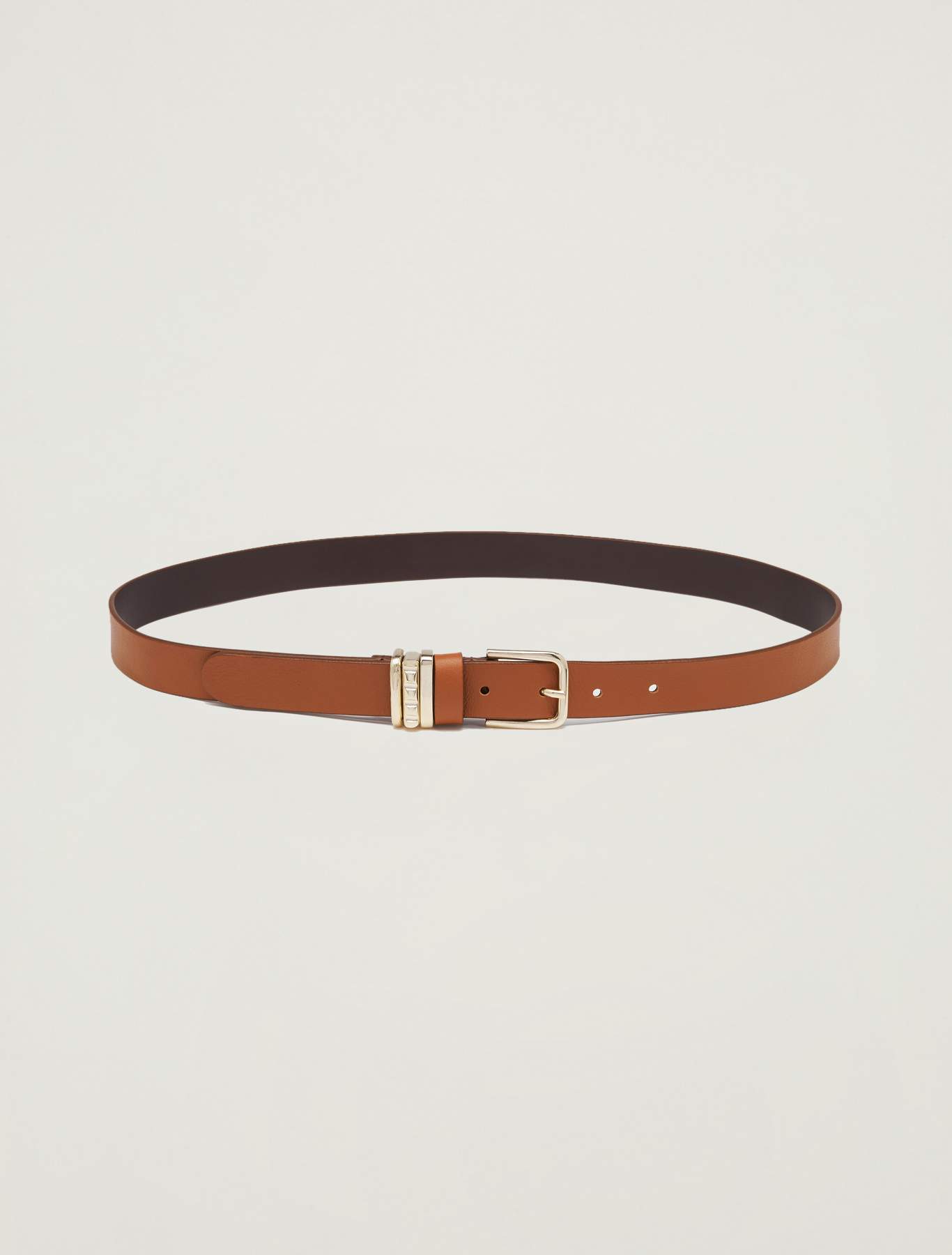 Belt with gold loops - tan - pennyblack