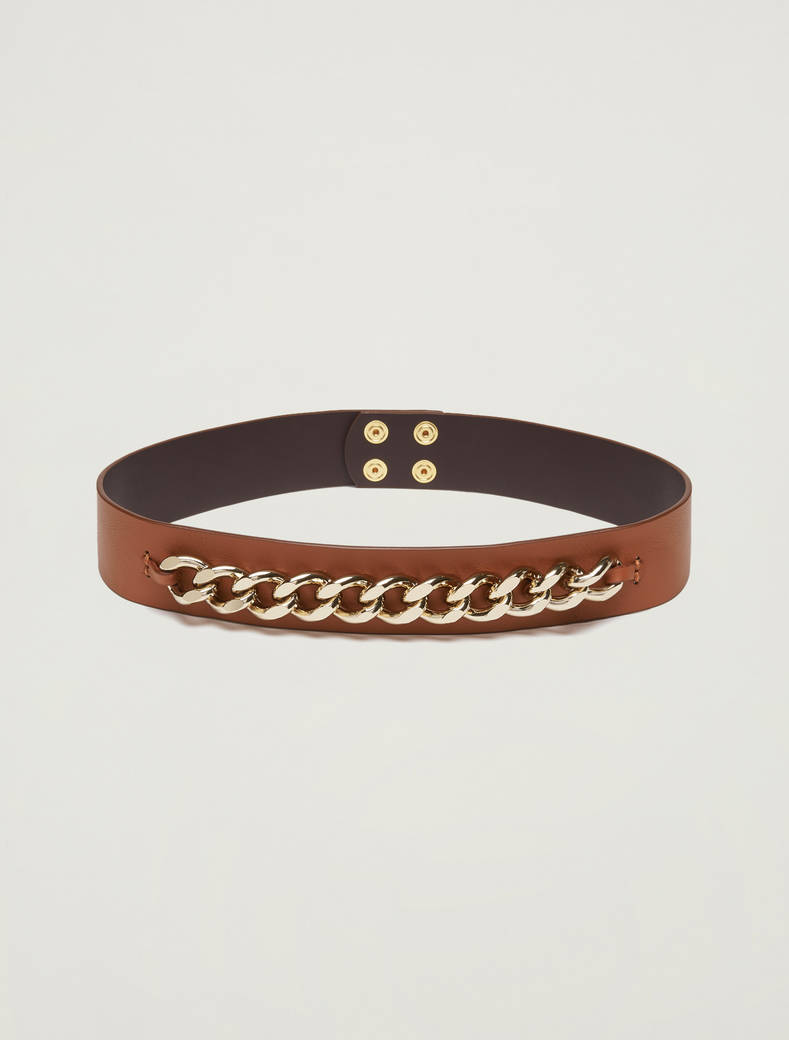 Leather belt with chain - tan - pennyblack