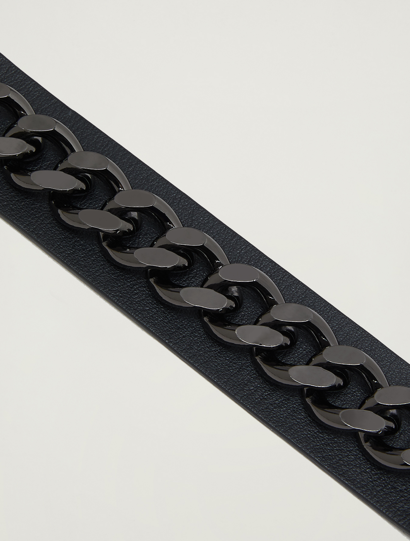 Leather belt with chain - black - pennyblack