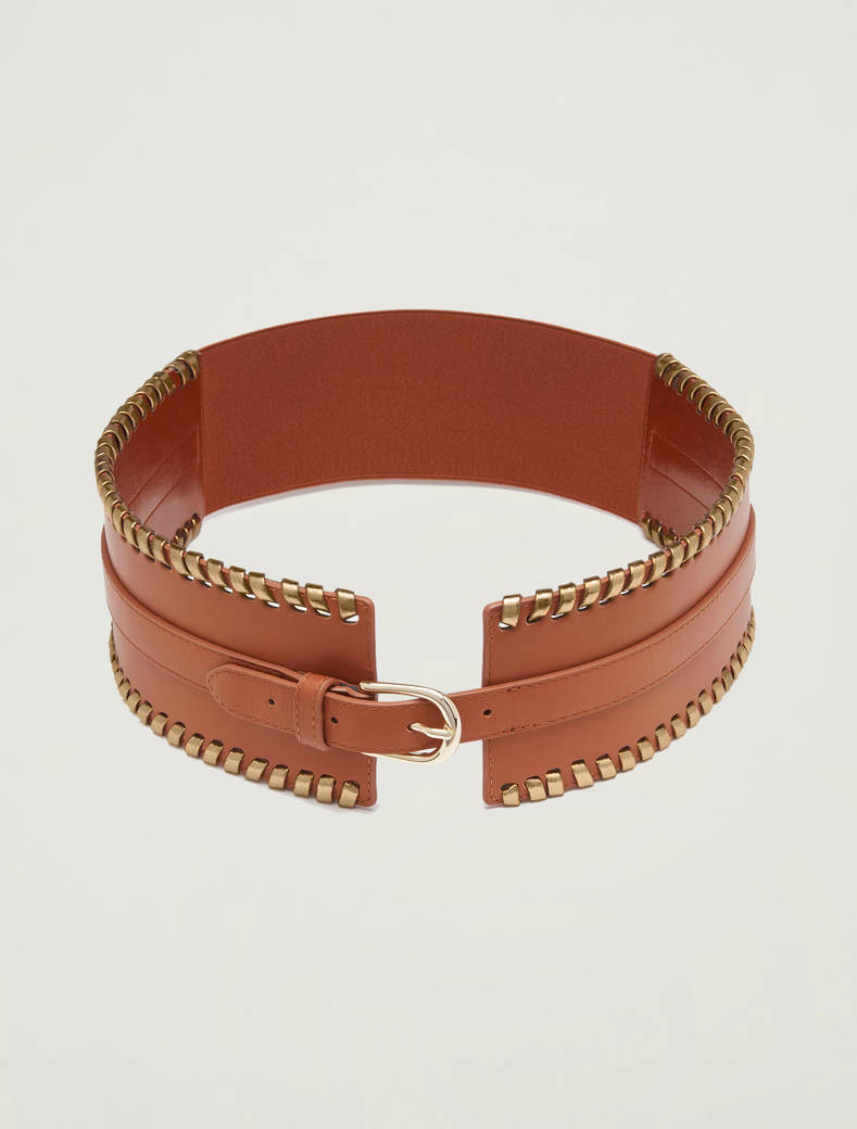 Wide leather belt - tan - pennyblack