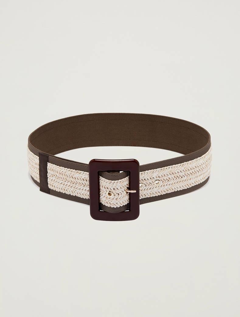 Woven raffia belt - ivory - pennyblack