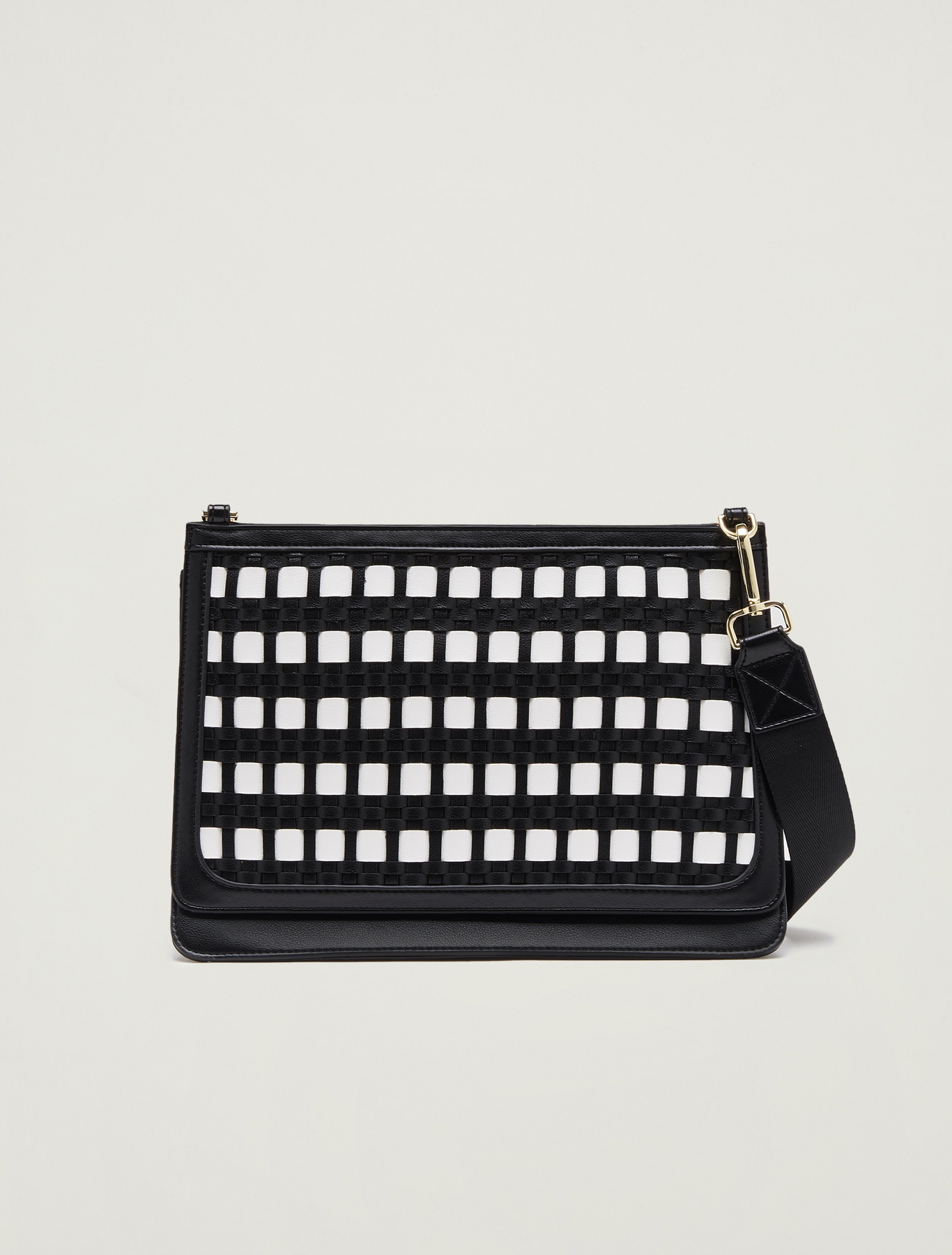 Gusseted, woven bag - white - pennyblack
