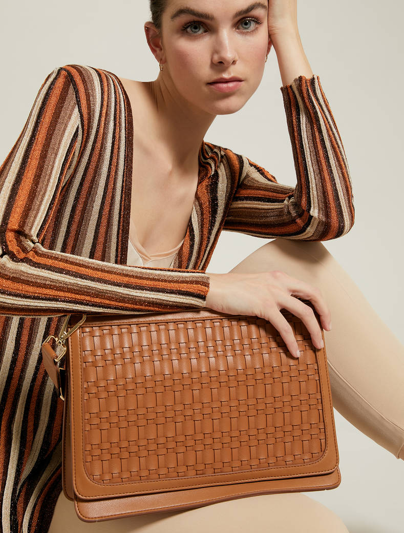 Gusseted, woven bag - tan - pennyblack