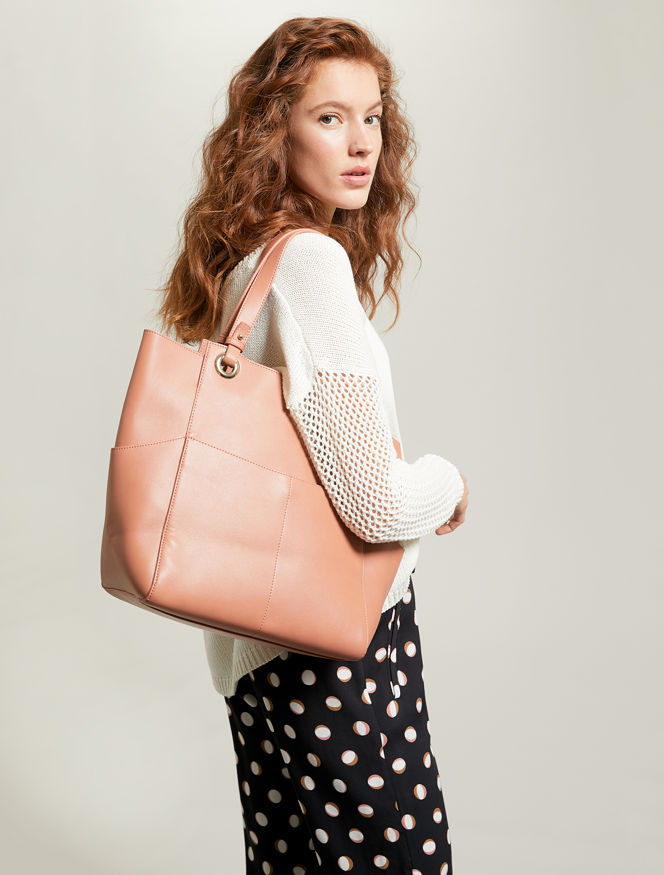 Tote bag with pockets - tan - pennyblack